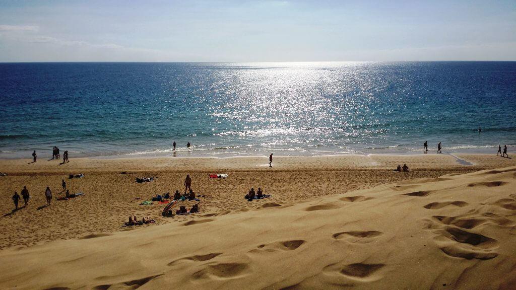 Den underbara beachen i Jandia, ca 2,8 mil lång ....