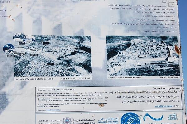 Agadir City Tour, en utflykt som rekommenderas. Uppe i Kasbahn ser man resterna av det gamla Agdir, 1960 drabbades staden av en jordbävning som varade i ca 30 sekunder, ca 15-20.000 personer omkom. En beskrivning finns uppe på klippan.